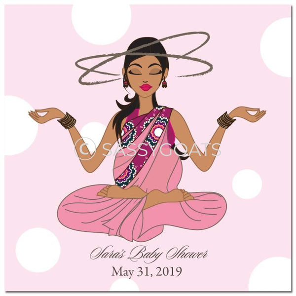 Baby Shower Party And Gift Stickers - Meditating Mommy South Asian