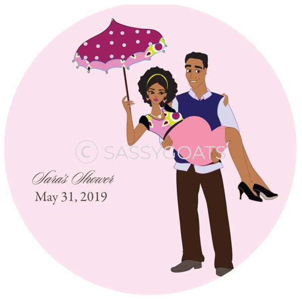 Baby Shower Party And Gift Stickers - Mommy Cargo African American