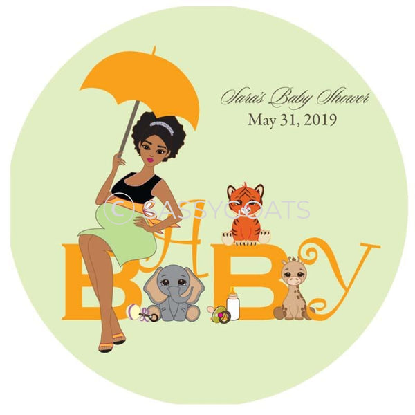 Baby Shower Party And Gift Stickers - Safari Animals African American