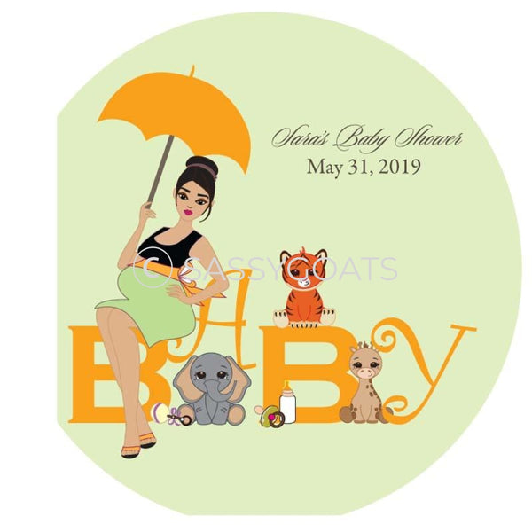 Baby Shower Party And Gift Stickers - Safari Animals Brunette