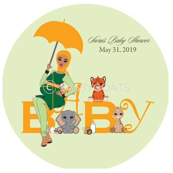Baby Shower Party And Gift Stickers - Safari Animals Headscarf Hijab