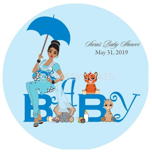Baby Shower Party And Gift Stickers - Safari Animals South Asian