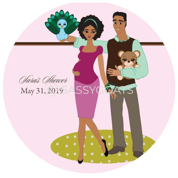 Baby Shower Party And Gift Stickers - Shelf African American
