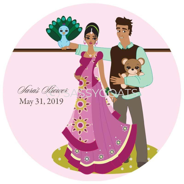 Baby Shower Party And Gift Stickers - Shelf South Asian
