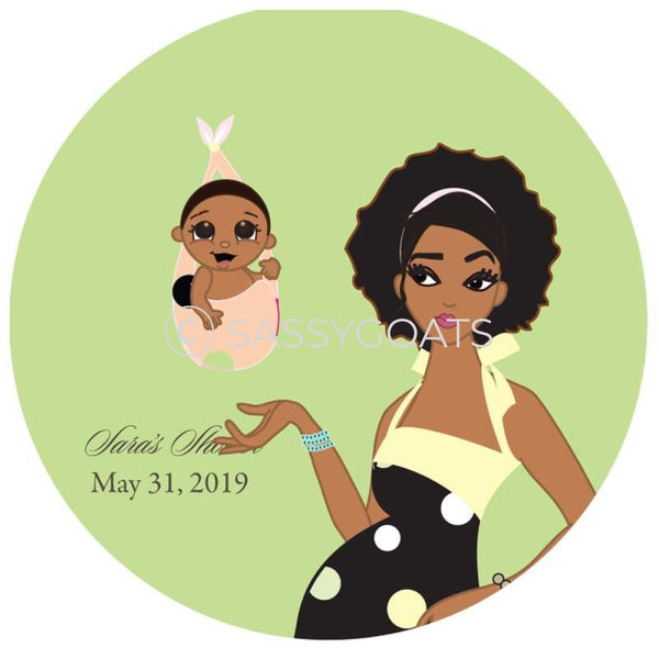 Baby Shower Party And Gift Stickers - Spring Delivery African American