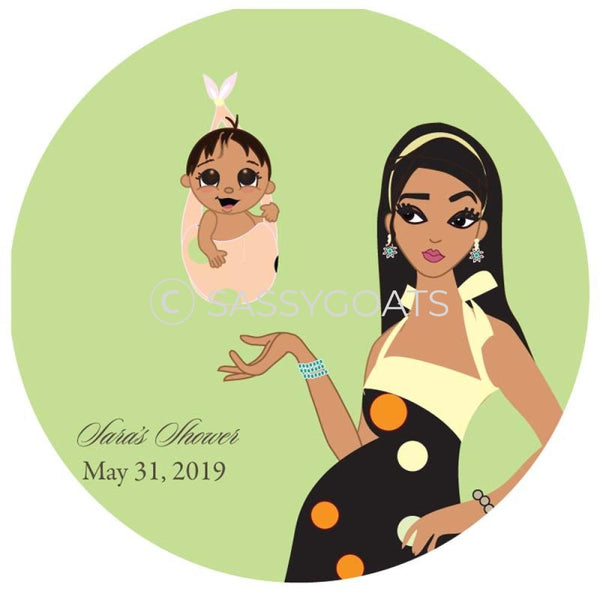 Baby Shower Party And Gift Stickers - Spring Delivery Brunette