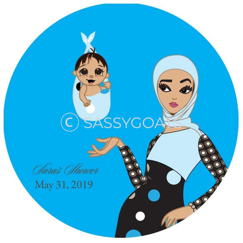 Baby Shower Party And Gift Stickers - Spring Delivery Headscarf Hijab