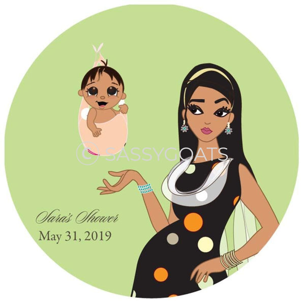 Baby Shower Party And Gift Stickers - Spring Delivery South Asian