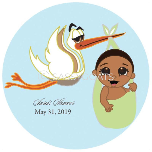 Baby Shower Party And Gift Stickers - Stork Mommy African American