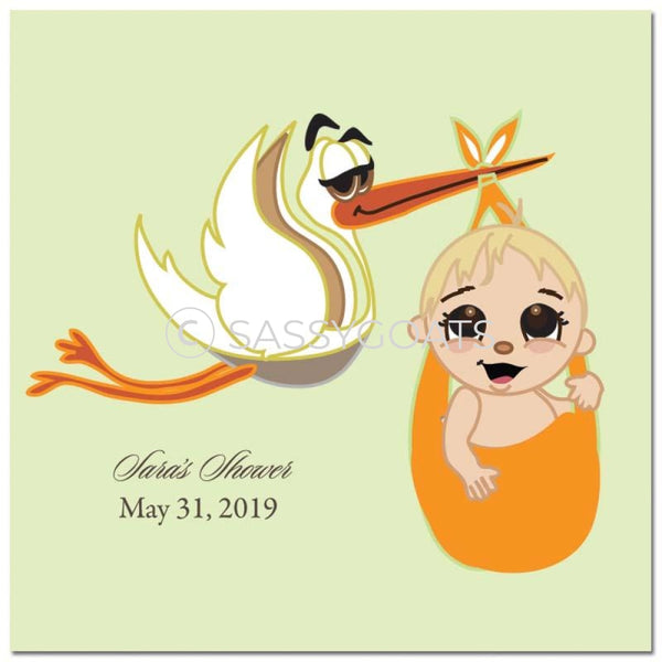 Baby Shower Party And Gift Stickers - Stork Mommy Blonde