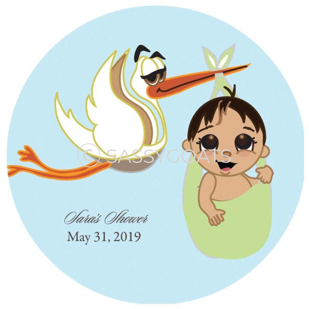 Baby Shower Party And Gift Stickers - Stork Mommy Brunette