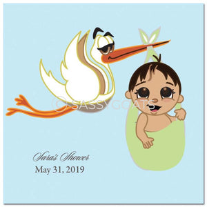Baby Shower Party And Gift Stickers - Stork Mommy Headscarf Hijab