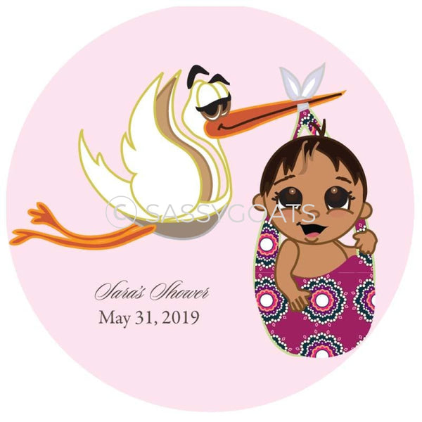 Baby Shower Party And Gift Stickers - Stork Mommy South Asian