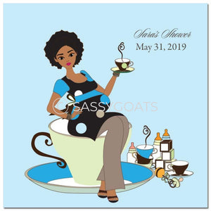 Baby Shower Party And Gift Stickers - Teacup Mommy African American