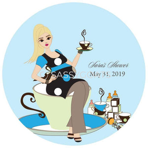 Baby Shower Party And Gift Stickers - Teacup Mommy Blonde