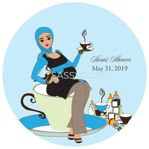 Baby Shower Party And Gift Stickers - Teacup Mommy Headscarf Hijab