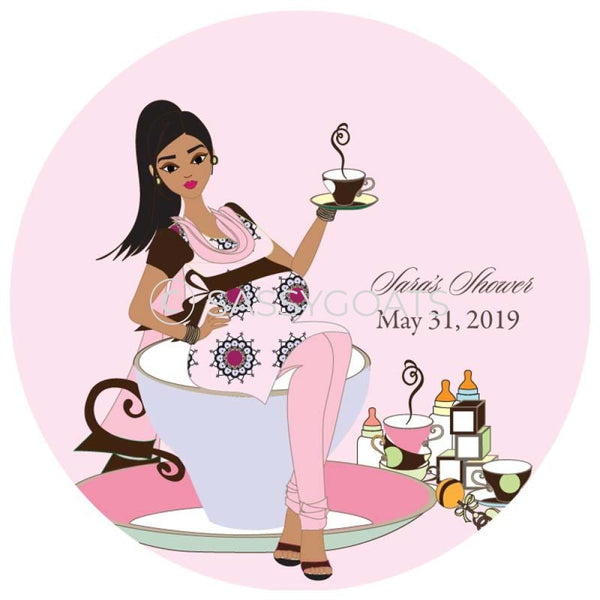 Baby Shower Party And Gift Stickers - Teacup Mommy South Asian