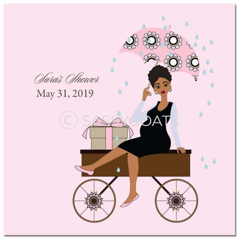 Baby Shower Party And Gift Stickers - Wagon Diva African American