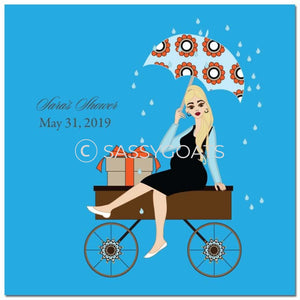 Baby Shower Party And Gift Stickers - Wagon Diva Blonde