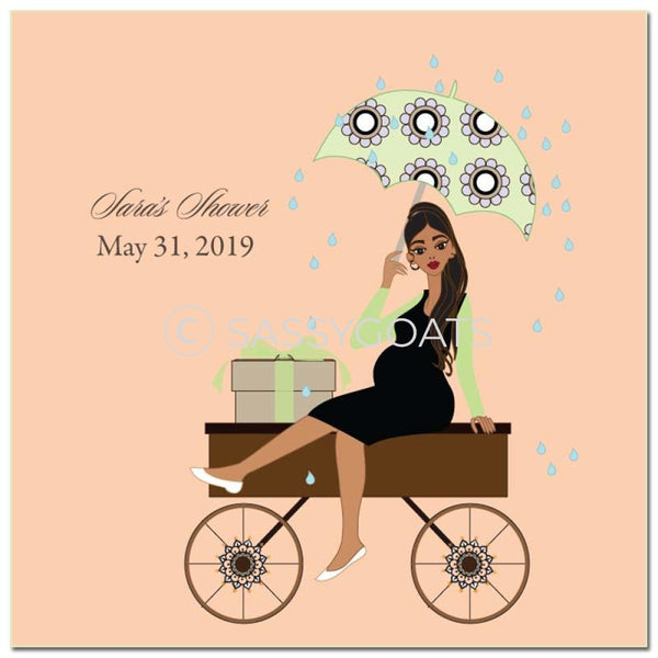 Baby Shower Party And Gift Stickers - Wagon Diva Brunette