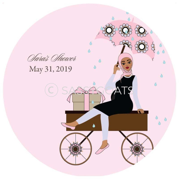 Baby Shower Party And Gift Stickers - Wagon Diva Headscarf Hijab