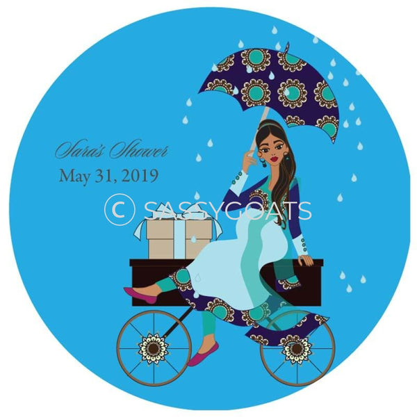 Baby Shower Party And Gift Stickers - Wagon Diva South Asian