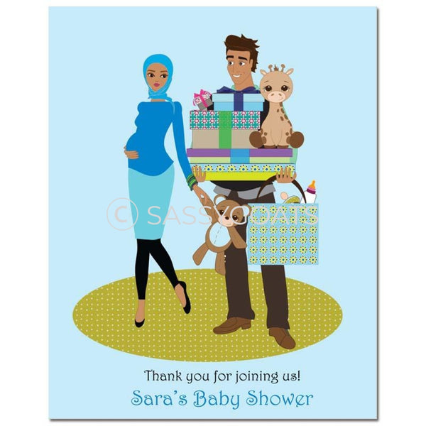Baby Shower Party Poster - Bounty Headscarf Hijab