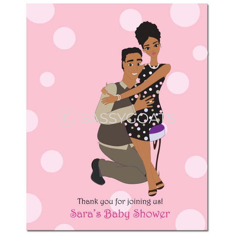 Baby Shower Party Poster - Couple Hugs African American