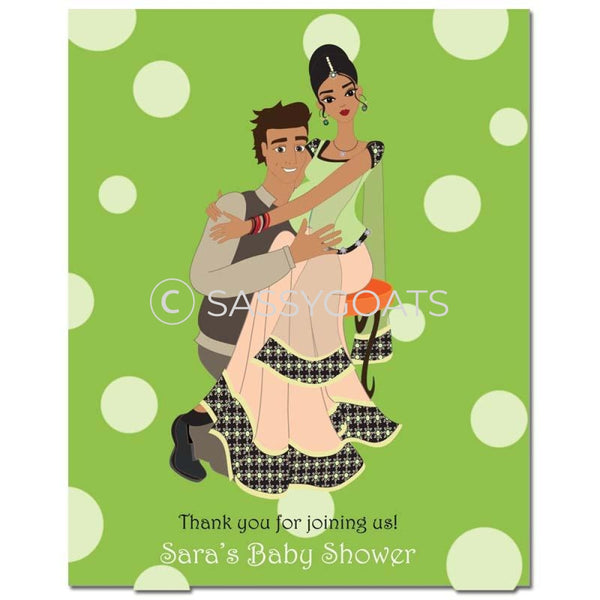Baby Shower Party Poster - Couple Hugs South Asian