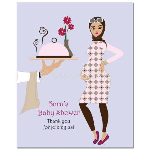 Baby Shower Party Poster - Dining Diva Headscarf Hijab
