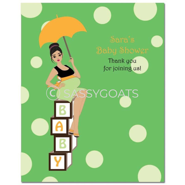 Baby Shower Party Poster - Diva Blocks Brunette
