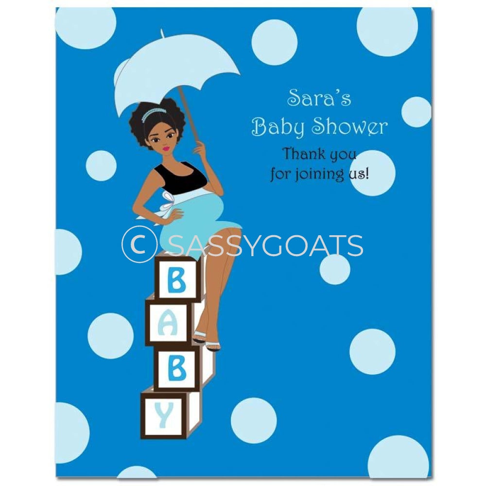 Baby Shower Party Poster - Fancy Umbrella African American