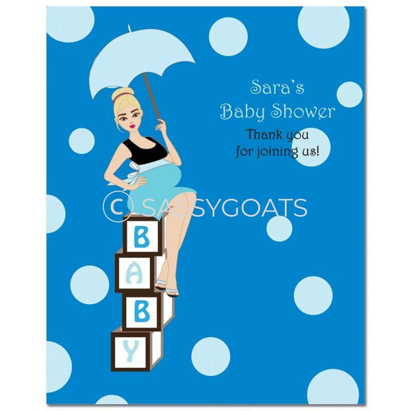 Baby Shower Party Poster - Fancy Umbrella Blonde
