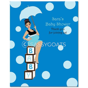 Baby Shower Party Poster - Fancy Umbrella Brunette