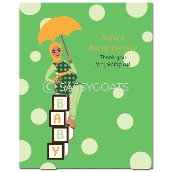 Baby Shower Party Poster - Fancy Umbrella Headscarf Hijab