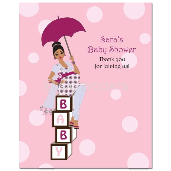 Baby Shower Party Poster - Fancy Umbrella South Asian