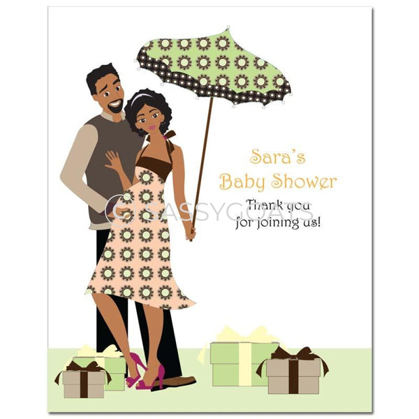 Baby Shower Party Poster - Glam Couple African American