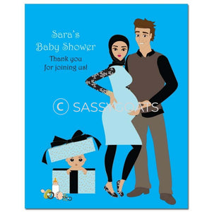 Baby Shower Party Poster - Glam Couple Headscarf Hijab