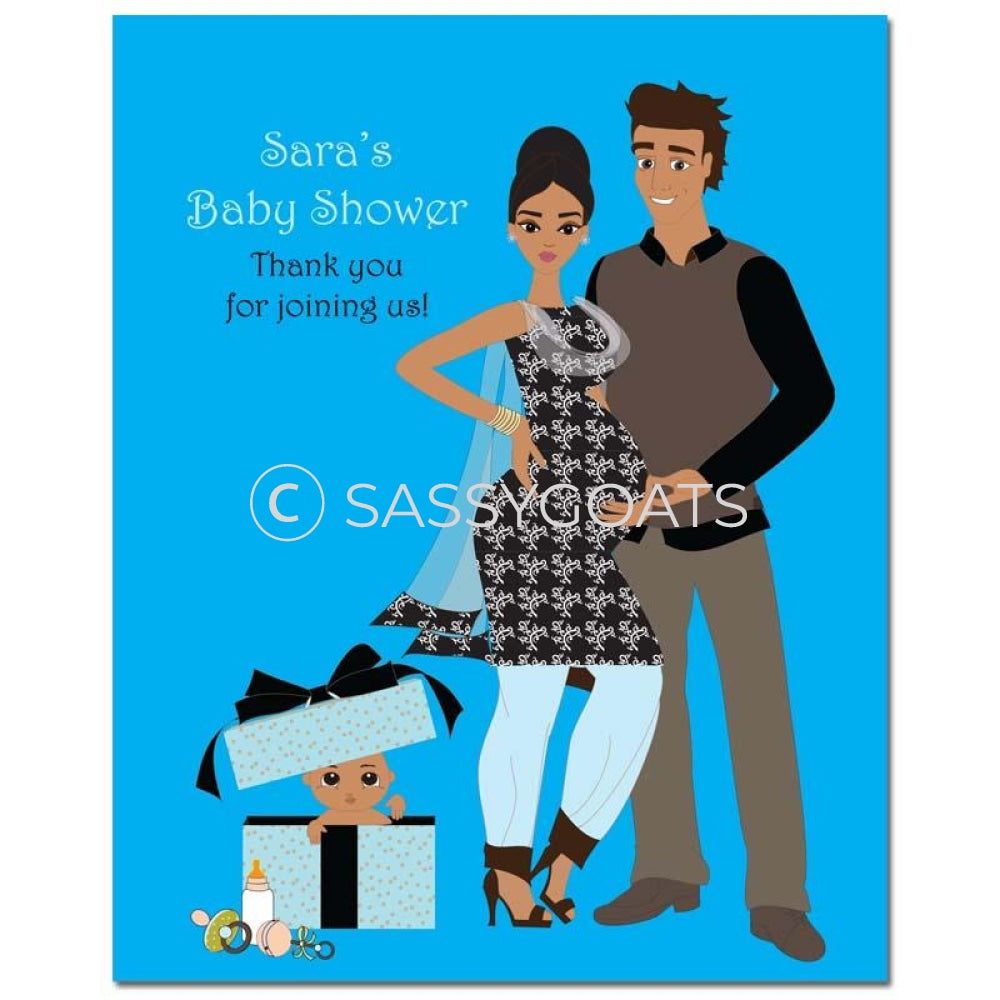 Baby Shower Party Poster - Glam Couple South Asian