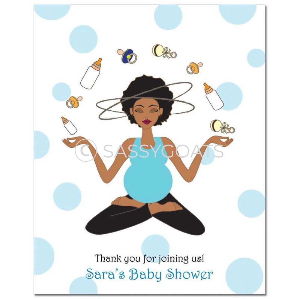 Baby Shower Party Poster - Meditating Mommy African American