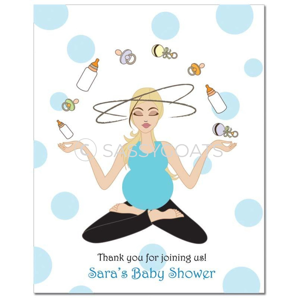 Baby Shower Party Poster - Meditating Mommy Blonde