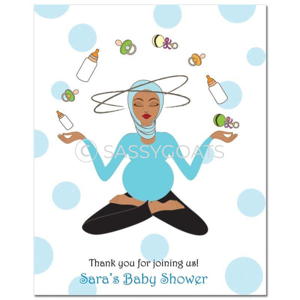 Baby Shower Party Poster - Meditating Mommy Headscarf Hijab