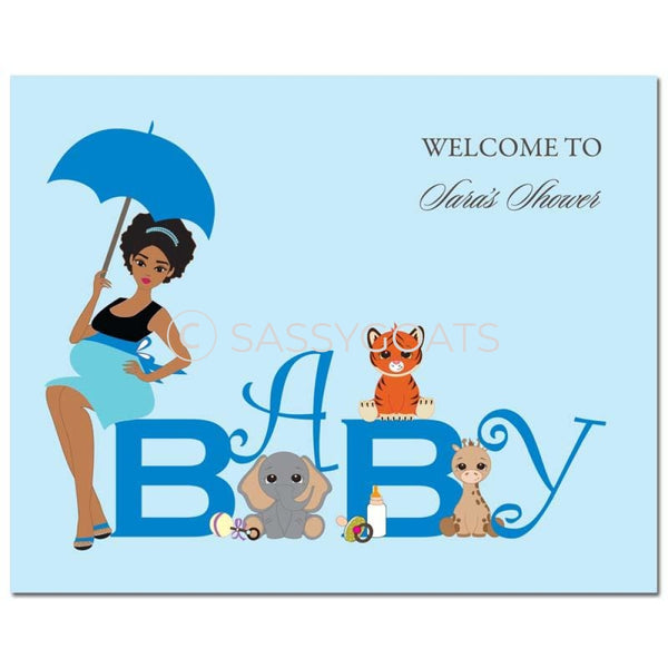 Baby Shower Party Poster - Safari Animals African American