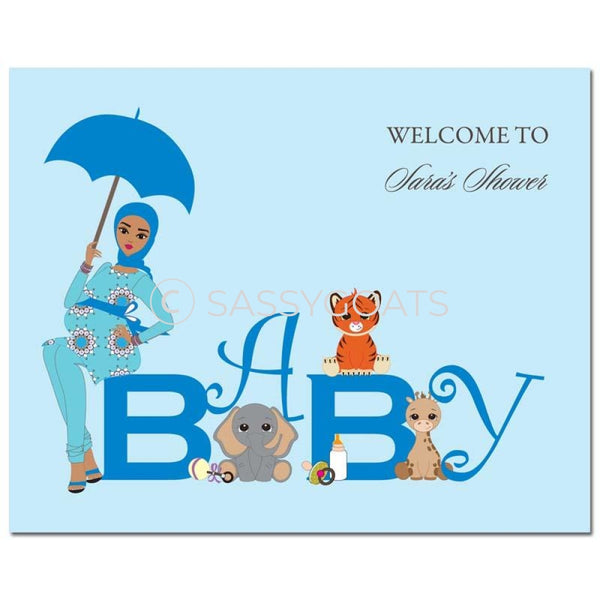 Baby Shower Party Poster - Safari Animals Headscarf Hijab