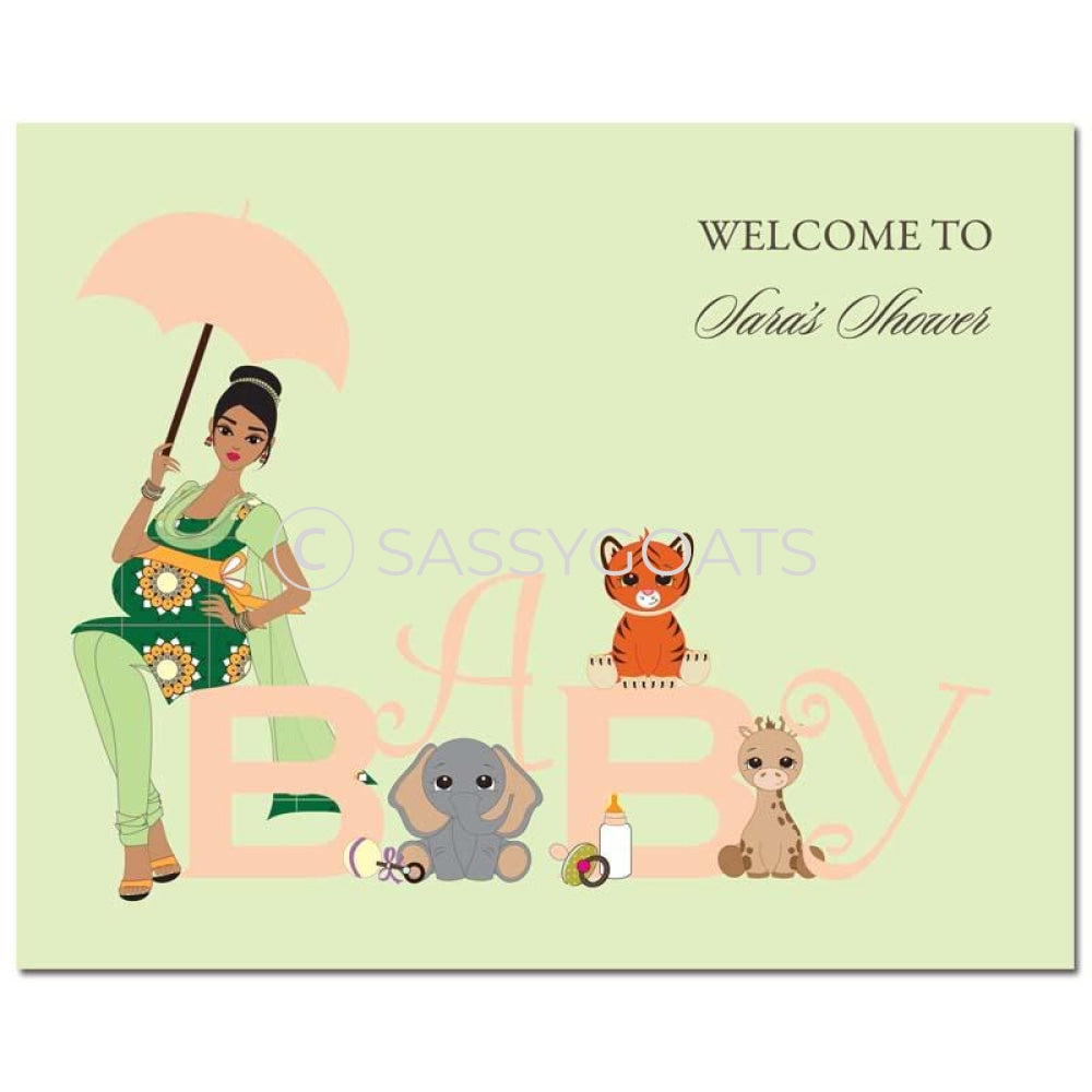 Baby Shower Party Poster - Safari Animals South Asian