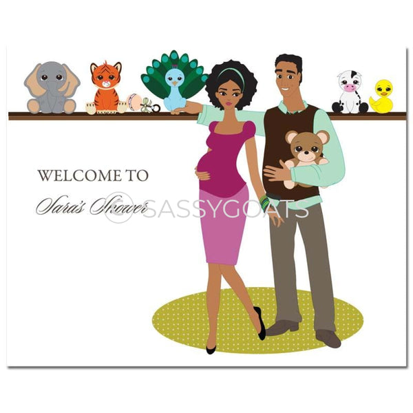 Baby Shower Party Poster - Shelf African American