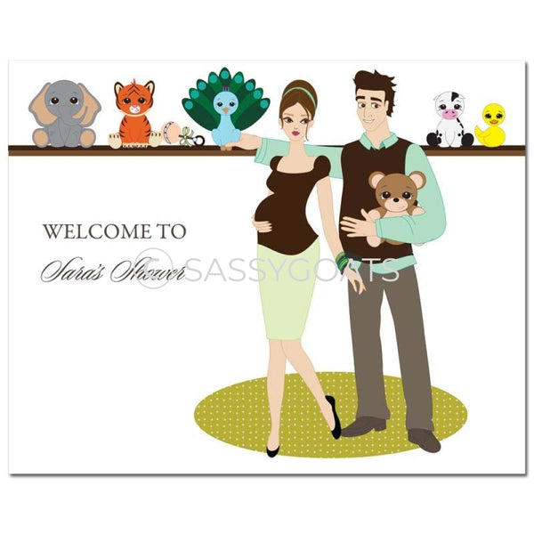 Baby Shower Party Poster - Shelf Brunette