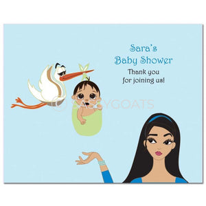 Baby Shower Party Poster - Stork Mommy Brunette