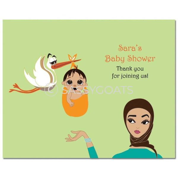Baby Shower Party Poster - Stork Mommy Headscarf Hijab