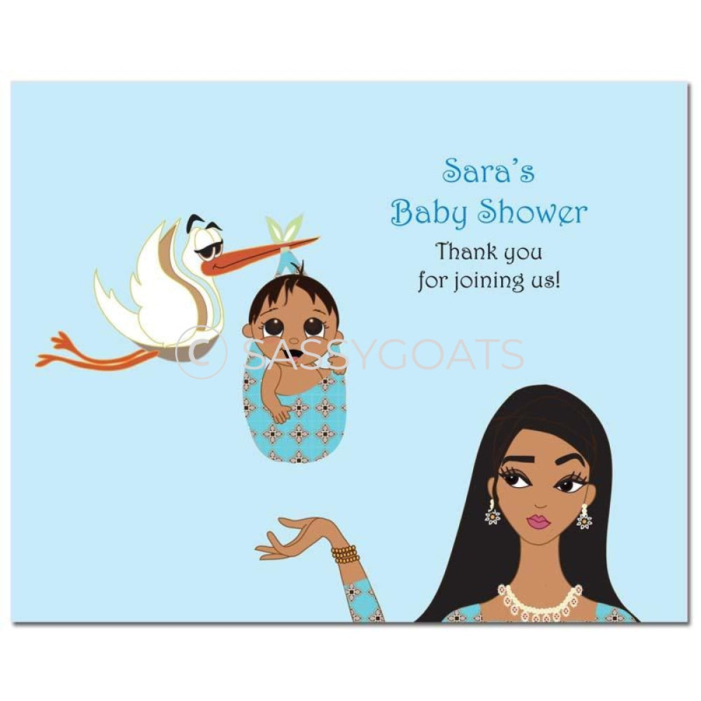 Baby Shower Party Poster - Stork Mommy South Asian